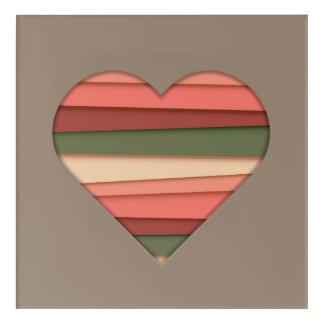Heart Love Striped Valentine's Day Acrylic Print