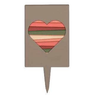 Heart Love Striped Valentine's Day Cake Topper