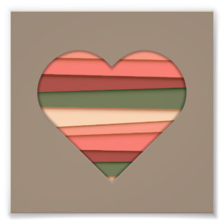 Heart Love Striped Valentine's Day Photo Print