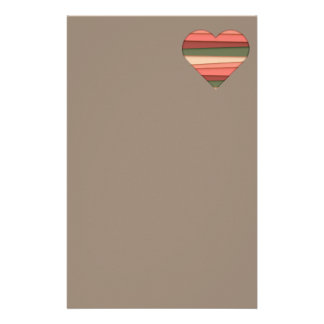 Heart Love Striped Valentine's Day Stationery