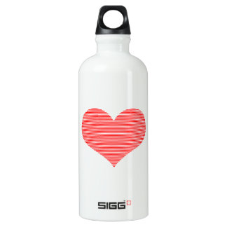 Heart - love - strips - red and white. water bottle