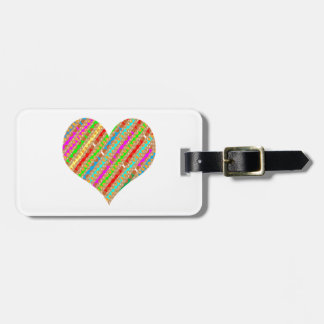 Heart made of Punch Paper Shreds Patch on Gold Sh Bag Tag