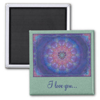 Heart Mandala Square Magnet