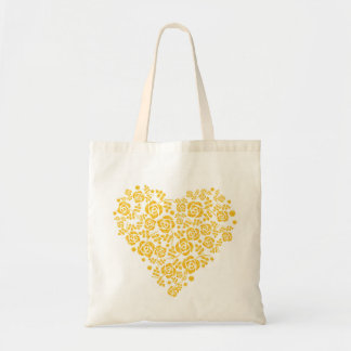 Heart mark of pattern of rose tote bag