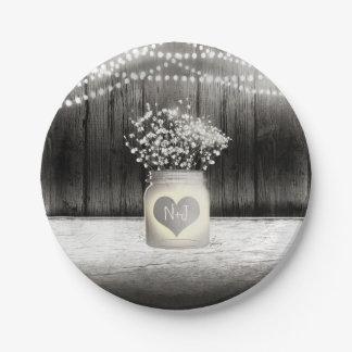 Heart Mason Jar & Baby's Breath Rustic Wedding Paper Plate