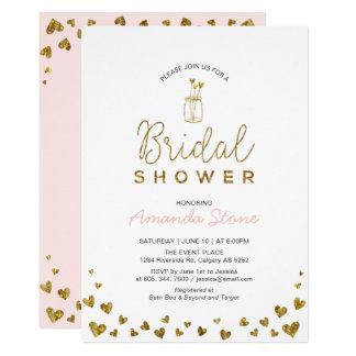 Heart & Mason Jar, Gold & Blush Pink Bridal Shower Card