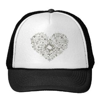 heart mix graphic design mesh hats