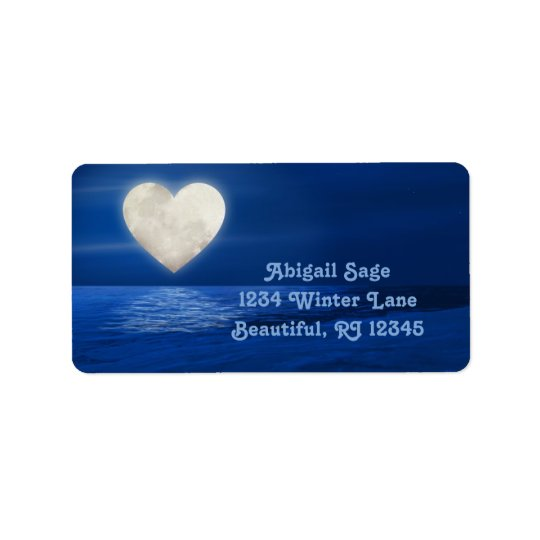 Heart Moon over Water, Snowy Beach Winter Address Address Label