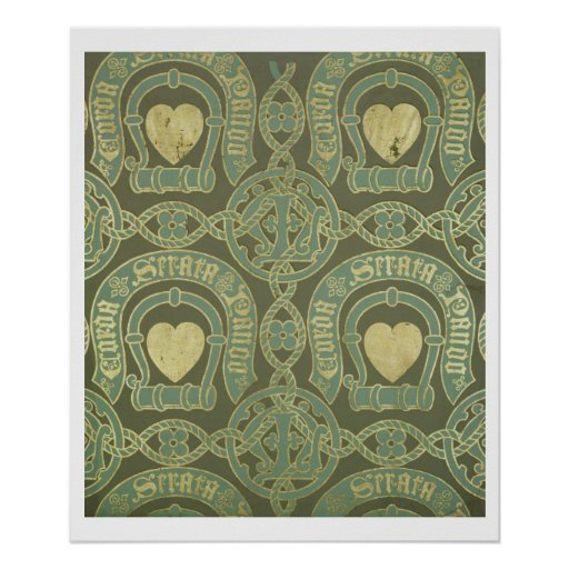Heart motif ecclesiastical wallpaper design poster