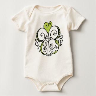 Heart Motif green Infant Creeper
