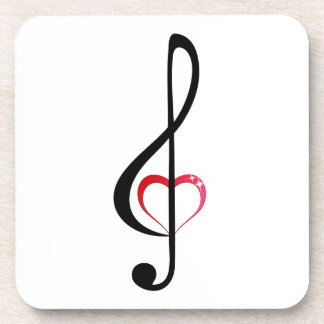 Heart music clef coaster