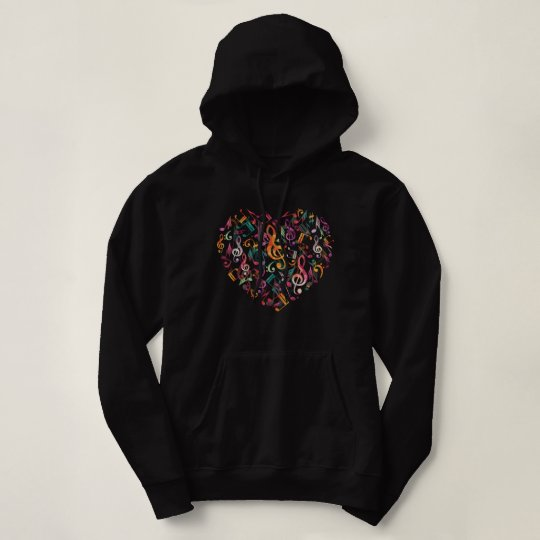 Heart Music Notes Hoodie