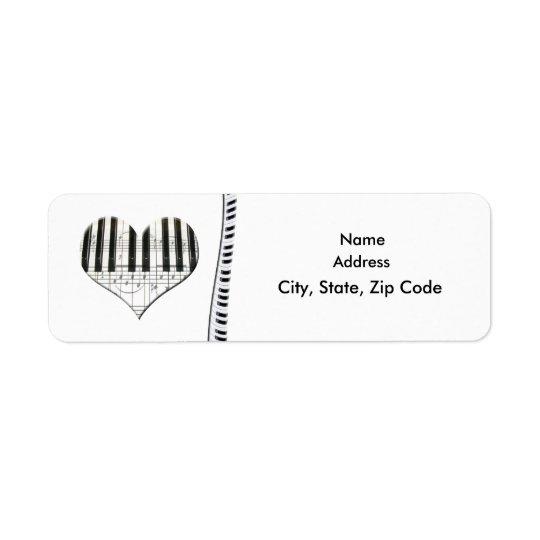 Heart Music Notes Keyboard Grand Piano Label Return Address Label