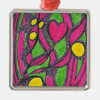 Heart n bubbles Silver-Colored square decoration