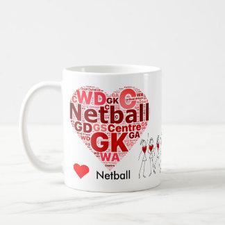 Heart Netball Positions Word Cloud Coffee Mug