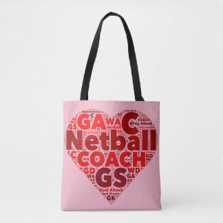 Heart Netball Themed Coach Tote Bag