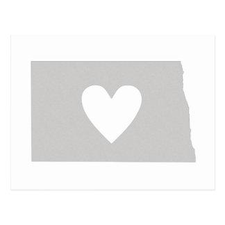 Heart North Dakota state silhouette Postcard