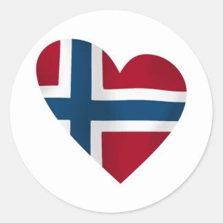 Heart Norwegian Flag Round Sticker
