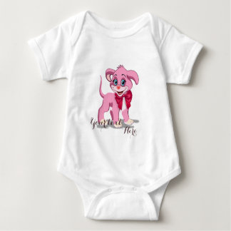 Heart Nose Pink Puppy Cartoon Baby Bodysuit