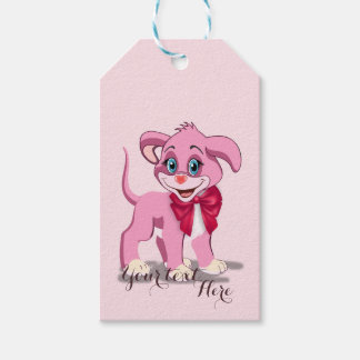 Heart Nose Pink Puppy Cartoon Gift Tags