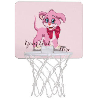 Heart Nose Pink Puppy Cartoon Mini Basketball Hoop