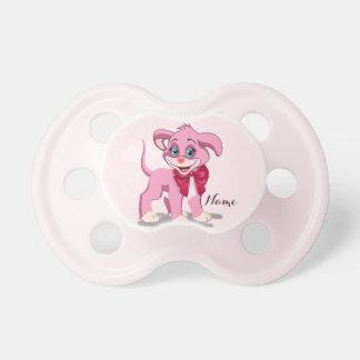 Heart Nose Pink Puppy Cartoon Pacifier