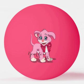 Heart Nose Pink Puppy Cartoon Ping Pong Ball
