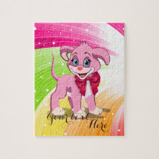 Heart Nose Pink Puppy Cartoon Puzzles
