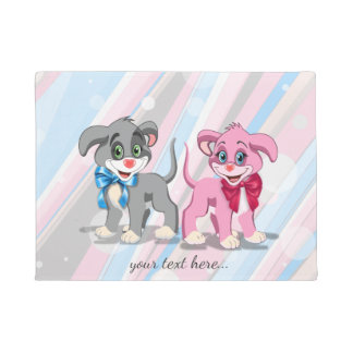 Heart Nose Puppies Cartoon Doormat