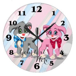 Heart Nose Puppies Cartoon Large Clock