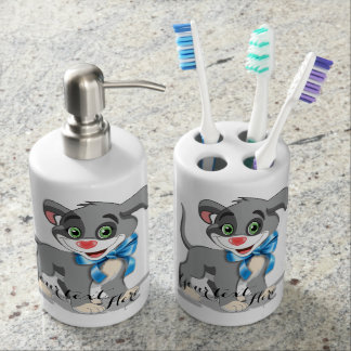 Heart Nose Puppy Cartoon Soap Dispenser And Toothbrush Holder