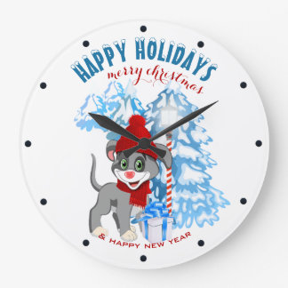 Heart Nose Puppy Christmas Cartoon Large Clock