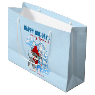 Heart Nose Puppy Christmas Cartoon Large Gift Bag