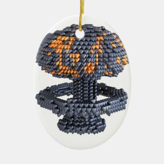 Heart Nuke Double-Sided Oval Ceramic Christmas Ornament
