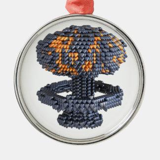 Heart Nuke Round Metal Christmas Ornament