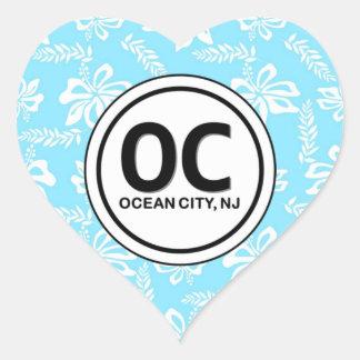 Heart OC Ocean City NJ Blue Flower Stickers
