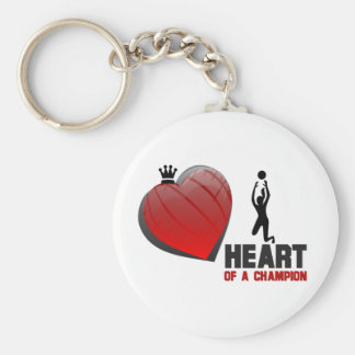 Heart of a Champion Ladies Volleyball Basic Round Button Key Ring