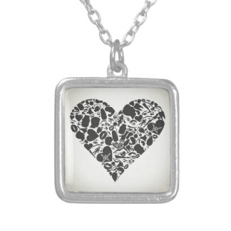 Heart of a part of a body silver plated necklace