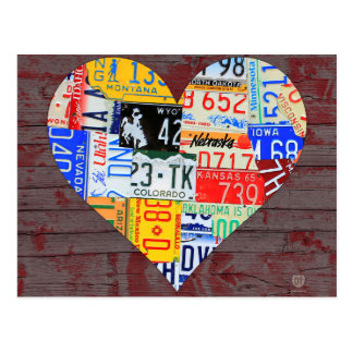 Heart of America Recycled License Plate Art Postcard