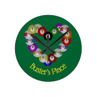 Heart of Billiard Balls Pool Shooter Round Clock
