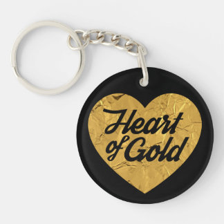 Heart of Gold Double-Sided Round Acrylic Key Ring