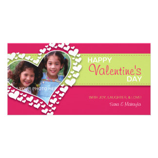 Heart of Hearts (Hot Pink/Green) Personalized Photo Card
