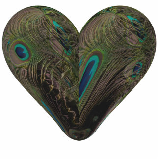 heart of peacocks feather photo sculpture decoration