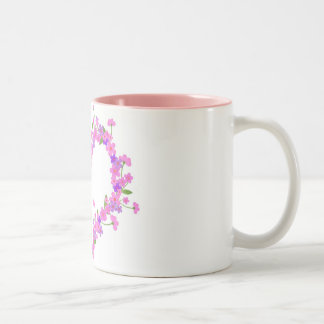 Heart of pink flower Two-Tone mug