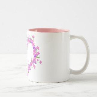 Heart of pink flower coffee mugs