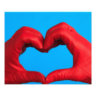 heart of red leather photo print
