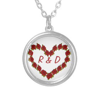 Heart of roses silver plated necklace