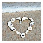 Heart of Seashells on the Beach Bridal Shower Personalised Announcement