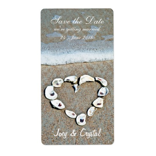 Heart of Shells on the Beach Save the Date Label