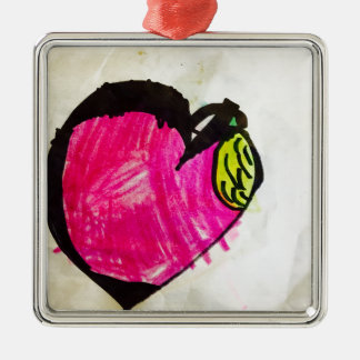 Heart of the Apple Silver-Colored Square Decoration